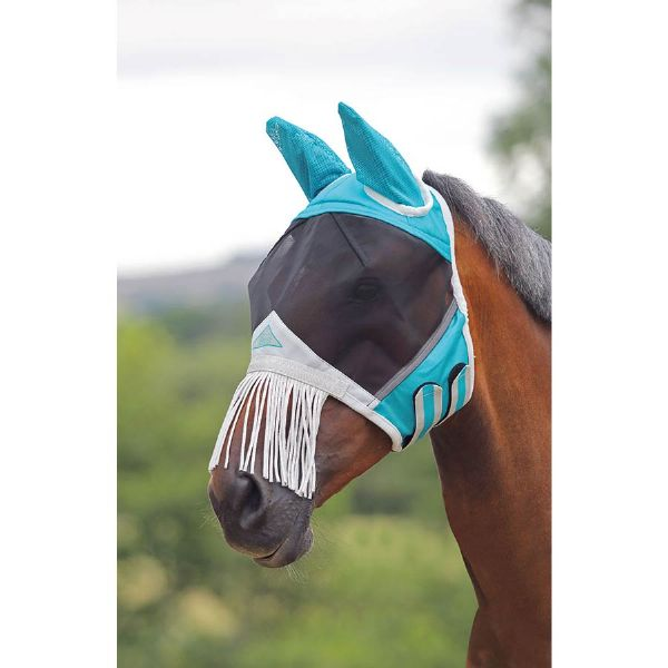 Shires Fine Mesh Fly Mask with Nose Fringe - Teal